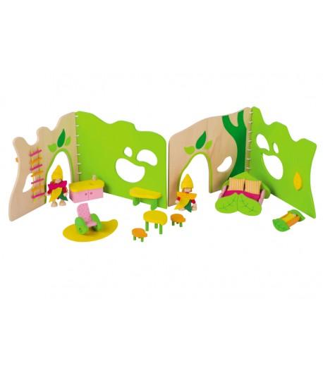 Casa de muñecas del bosque de madera