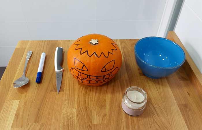 qué hace falta para hacer una calabaza de Halloween